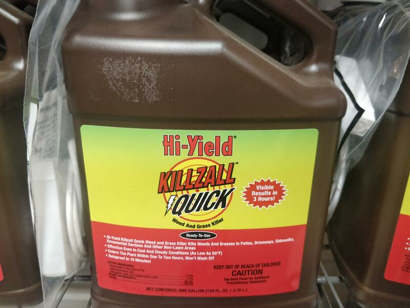 A non-selective systemic weed and grass killer that will eliminate undesirable vegetation – roots and all – in and around lawns, driveways, parking areas, between stepping stones and bricks, flower beds, trees and shrubs. Special caution should be taken to avoid spraying desired vegetation.  Rainproof in 10 minutes; reaches the roots in 1 to 2 hours; visible results in as little as 3 hours.
